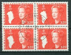 BM Grönland 1989 | MiNr 189 Viererblock | Used | Königin Margrethe II. - Blocks & Kleinbögen