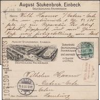 Allemagne 1903. Entier Postal TSC, August Stuckenbrok à Einbeck, Premier Fabriquant De Vélos En Allemagne. Usine - Vélo