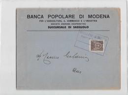 10615 BANCA POPOLARE DI MODENA AGRICOLTURA COMMERCIO INDUSTRIA SUCC. SASSUOLO - RECAPITO AUTORIZZATO - 1900-44 Vittorio Emanuele III