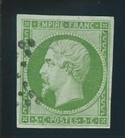 FRANCE:  Obl., N° YT 12, Vert Vif, TB - 1853-1860 Napoleon III
