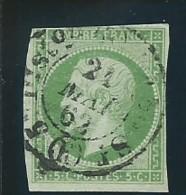 FRANCE:  Obl., N° YT 12a, Vert Jaune, Def, AB - 1853-1860 Napoleon III