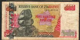ZIMBABWE P10 500 DOLLARS 2001 #RH   F-VF NO P.h. - Zimbabwe