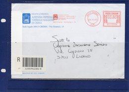 ##(DAN194)-Italy 2007-Busta Raccomandata Da Crema Per Livorno Affrancata  EMA Ospedale Maggiore  Crema-medical-hospital - Marcophilie - EMA (Empreintes Machines)