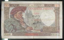 Billet 50 Francs France Jacques Coeur 20-11-1941.L. - 1871-1952 Antichi Franchi Circolanti Nel XX Secolo