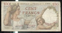 Billet 100 Francs France Sully 30.11.1939.JT. - 1871-1952 Anciens Francs Circulés Au XXème