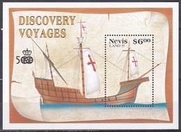 Nevis 1991 Geschichte History Entdeckungen Discovery Amerika Kolumbus Columbus Schiffe Ships Karavelle, Bl. 31 ** - St.Kitts-et-Nevis ( 1983-...)