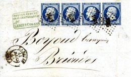 Napoléon Empire Non Dentelé Bande De 4 Sur Devant De Lettre Daté Du 14/03/1853 - 1853-1860 Napoleon III