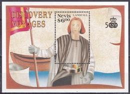 Nevis 1991 Geschichte History Entdeckungen Discovery Amerika Christoph Kolumbus Columbus Persönlichkeiten, Bl. 32 ** - St.Kitts-et-Nevis ( 1983-...)