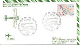 ITALIA - 1986 RICCIONE (FO) 75° Volo Postale Di ACHILLE DAL MISTRO (aereo Francese Depardussin) Su Busta Spec. Viagg. - Flugzeuge