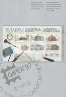 CANADA - CAPEX 87 - Blocs N°5 - 6 - 7 Sur Son Support Document - 1987 - Blocs-feuillets