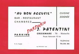 1 Carte De Visite 76 Seine Maritime CROIXMARE MOTTEVILLE J. PATENTINI Bar Restaurant - Visiting Cards