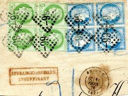 2 Blocs De 4 Timbres  Du Cérès 5 C Vert-jaune Et Du 20 C Bleu Datés Du 10/02/1876 Sur Devant De Lettre - 1871-1875 Cérès