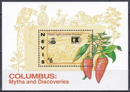 Nevis 1992 Geschichte History Entdeckungen Discovery Amerika Kolumbus Columbus Kompass Pfeffer Pepper Plants, Bl. 48 ** - St.Kitts-et-Nevis ( 1983-...)