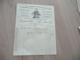 Facture Illustrée Manonviller 1909 Paris Entreprise Générale De Monuments Funèbres - Old Professions