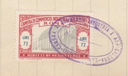 Roma. 1954.  Marca Camera Di Commercio Diritti Di Segreteria L. 72 + Erinofilo REDENZIONE SOCALE L. 10, Su Documento - Andere
