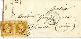 Paire De Napoléon Lauré  à 10 C Bistre (YT N° 28) Sur Lettre Du Mas D'Azil Pour Pamiers, Datée Du 03/09/1868 - 1863-1870 Napoleon III Gelauwerd