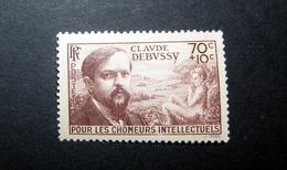 FRANCE 1939 N°437 ** (POUR LES CHÔMEURS INTELLECTUELS 5ÈME SÉRIE. CLAUDE DEBUSSY. 70C + 10C BRUN-LILAS) - France