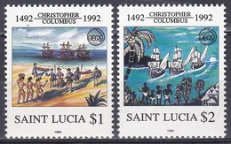 St. Lucia 1992 Organisationen OECS Geschichte History Entdeckungen Discovery Kolumbus Columbus Schiffe, Mi. 1001-2 ** - St.Lucia (1979-...)