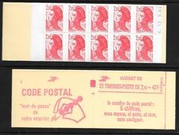 Carnet 2319-C4 Daté 12.9.84 Liberté 2,10 Rouge Couverture Code Postal Conf 8 - Definitives