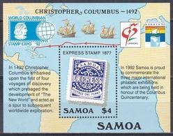Samoa 1992 Geschichte History Entdeckungen Discovery Kolumbus Columbus GENOVA WORLD COLUMBIAN Chicago, Bl. 50 ** - Samoa (Staat)