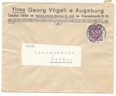 """Augsburg - Deutsches Reich - Lettre -  """"Firma Georg Vögli - Augsburg"""" Vers Mainz, Mi. 268; 1923 - Allemagne"""