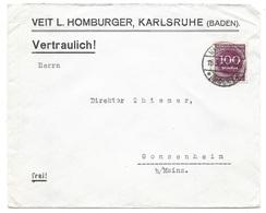 """Karlsruhe - Deutsches Reich - Lettre -  """"Veit L. Homberger, Karlsruhe ... Vertraulich!"""" Vers Gonsenheim, Mi. 268; 1923 - Allemagne"""