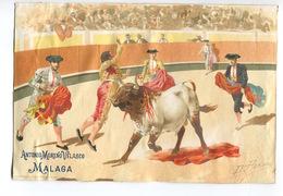 ESPAGNE MALAGA RARE Chromo Grand Format Illustrateur Perea Antonio Moreno Velasco  Corrida Torero Taureau - Autres