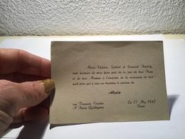 Carte De Visite à L'occasion De La Naissance De Leur Fils Alain Brest Saint-Pierre Quilbignon - Visiting Cards