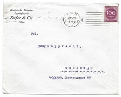 """Köln - Deutsches Reich - Lettre -  """"Rheinische Toilette-Papierfabrik"""" Vers Weisenau, Mi. 268; 1923 - Allemagne"""