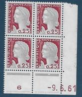 Coins Datés France Neuf**,  N°1263 Yt, 1961, Marianne De Decaris - Coins Datés
