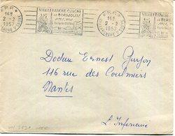 Lettre En Port Payé De Villefranche Sur Saone Oblitérée Flamme VIL363P  Du 2/2/1957 - Poststempel (Briefe)
