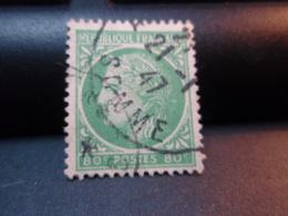 Timbre Type Cérès De Mazelin 80 C Vert-jaune Oblitéré SOMME 21-1-1947 - Used Stamps