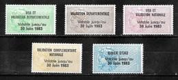 Timbres Fiscaux Fiscal Lot Taxe Permis De Chasse 1983 (cote 237€) - Revenue Stamps