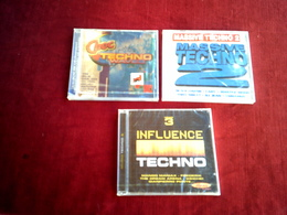 COLLECTION DE 3 CD ALBUM DE COMPILATION DE TECHNO °  CHOC TECHNO WAVES + INFLUENCE TECHNO VOL 3 + MASSIVE TECHNO 2 - Compilations