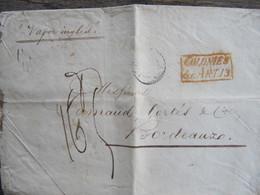 MARQUE POSTALE   ENVELOPPE  PORTO RICO  Vers  BORDEAUX  1855 - Marcophilie (Lettres)