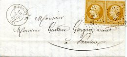 2 Napoléon Empire Non Dentelés à 10 C Bistre (YT N° 13) Sur Lettre De Mirepoix Pour Pamiers (10/11/1857) - 1853-1860 Napoleon III