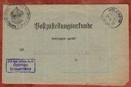 Postzustellungsurkunde, Frei Durch Abloesung, KOS Holzheim Els, Nach Strassburg 1918 (71080) - Allemagne