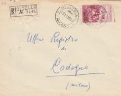 RACCOMANDATA 1959 L.110 GUERRA INDIP. TIMBRO PIOLTELLO MILANO CODOGNO (EX679 - 6. 1946-.. Repubblica