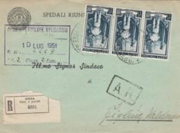 RACCOMANDATA 1951 15X3 ITALIA AL LAVORO TIMBRO AMBULANTE CHIUSI AREZZO (EX682 - 1946-60: Storia Postale