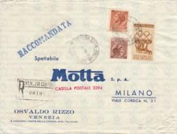RACCOMANDATA 1960 80+90+5 ERINNOFILO MOTTA AL VERSO -APERTA 2 LATI (EX684 - 6. 1946-.. Repubblica