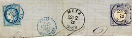 Affranchissement Mixte Franco-allemand De Metz Sur Fragment De Lettre, Daté Du 22/02/1872 - Elzas-Lotharingen