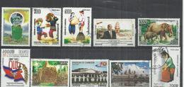 TEN AT A TIME - CAMBODIA - LOT OF 10 DIFFERENT COMMEMORATIVE  9 - POSTALLY USED OBLITERE GESTEMPELT USADO - NO CTO - Cambodge