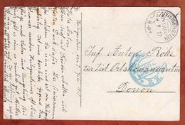 AK Blumengebinde, Per Feldpost, KOS Heiligenstein, Nach Donon, Zensur Strassburg 1917 (71082) - Cartas