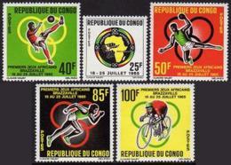 Congo Brazzaville, 1965, African Sports Games, Soccer, Cycling, Handball, MNH, Michel 76-80 - Congo - Brazzaville