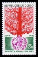 Congo Brazzaville, 1968, World Health Organization, WHO, United Nations, MNH, Michel 166 - Congo - Brazzaville