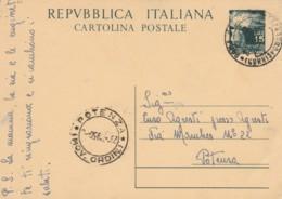INTERO POSTALE 1950 L.15 TIMBRO POTENZA (EX843 - 6. 1946-.. Repubblica