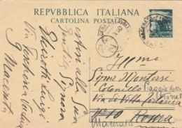 INTERO POSTALE 1950 L.15 TIMBRO AMBULANTE MACERATA FABRIANO (EX844 - 6. 1946-.. Repubblica