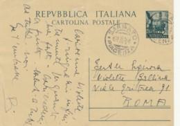 INTERO POSTALE 1953 L.20 PIEGA CENTRALE TIMBRO PIACENZA (EX845 - 6. 1946-.. Repubblica