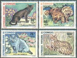 Congo Brazzaville, 1974, Cats, Animals, Fauna, MNH, Michel 445-448 - Congo - Brazzaville