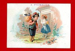 A Pygmalion, Jolie Chromo Lith. Dangivillé, Fillette Avec Mouchoir Triste De Voir Partir Son Amoureux Avec Son Baluchon - Autres